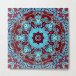 mandala 6 blue red #mandala Metal Print