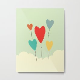 Heart Balloons above the Clouds Metal Print