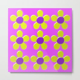 Spring Daisies Jelly Art - Lavender Yellow Pink Metal Print