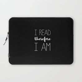 i read therefore i am // black Laptop Sleeve
