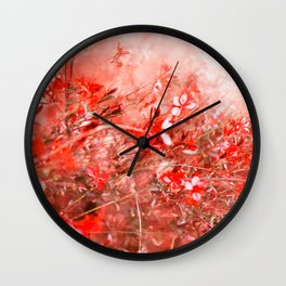 Bright Coral Floral Wall Clock