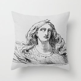 Lady And The Ribbon Throw Pillow
