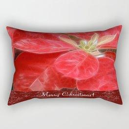 Mottled Red Poinsettia 1 Ephemeral Merry Christmas S5F1 Rectangular Pillow