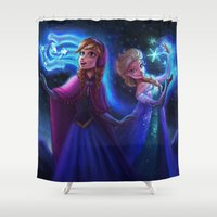 frozen Shower Curtains featuring frozen by KATIE PAYNE