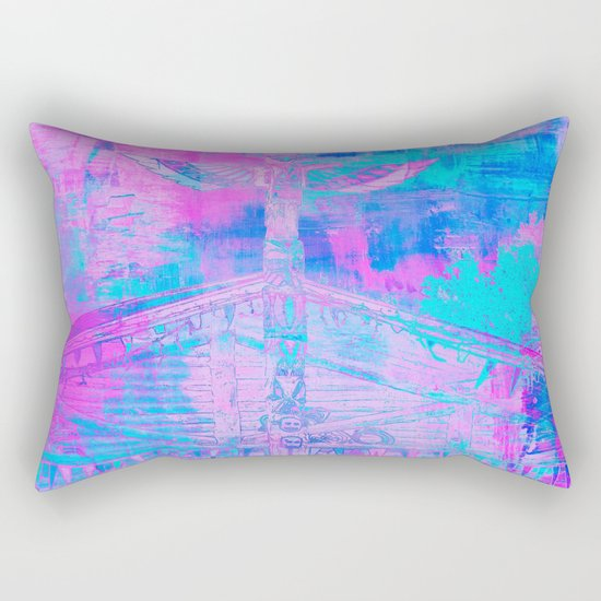Totem Cabin Abstract - Hot Pink & Turquoise Rectangular Pillow