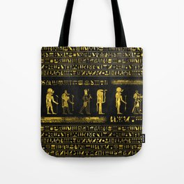 Golden Egyptian Gods and hieroglyphics on leather Tote Bag