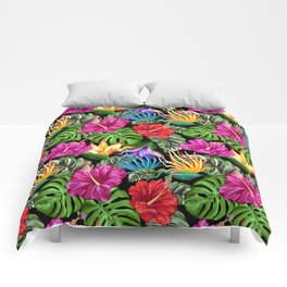Tropical Flora Summer Mood Pattern Comforters