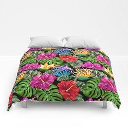 Tropical Flora Summer Mood Pattern Comforters