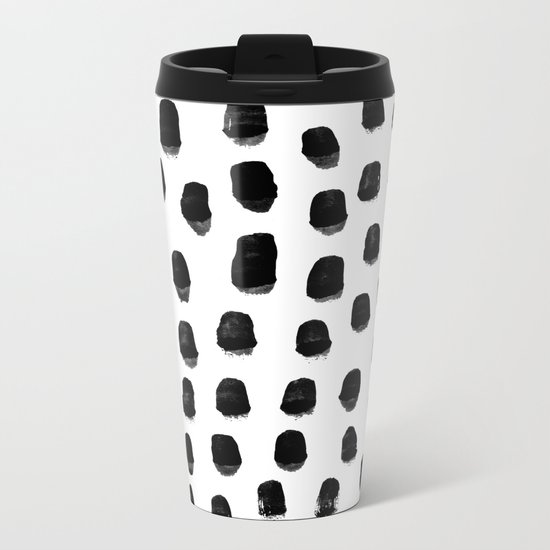 Kady - black and white ink spot minimal scandinavian pattern art hipster Metal Travel Mug