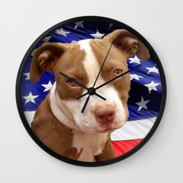 American Pitbull puppy Wall Clock