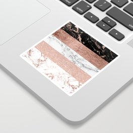 Modern chic color block rose gold marble stripes pattern Sticker
