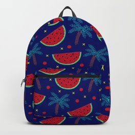 Tropical mosaic design on blue Backpack