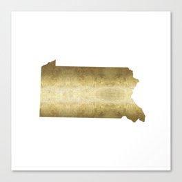 pennsylvania gold foil map Canvas Print