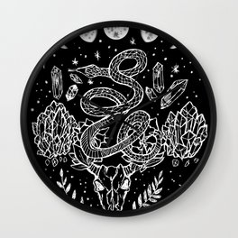 Gothic Snakes And Crystals Moon Phases Wall Clock