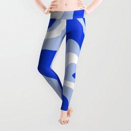 Retro Liquid Swirl Abstract Pattern Royal Blue, Light Blue, and White  Leggings