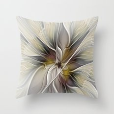 Floral Abstract, Fractal Art Throw Pillow