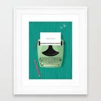 typewriter Framed Art Prints featuring Typewriter by Luke Bott
