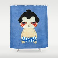 honda Shower Curtains featuring A Boy - E. Honda by Christophe Chiozzi