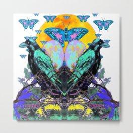 SURREAL BIRDS, BLUE BUTTERFLIES & GOLDEN MOON Metal Print