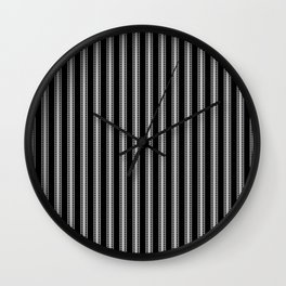 Black and White French Fleur de Lis in Mattress Ticking Stripe Wall Clock