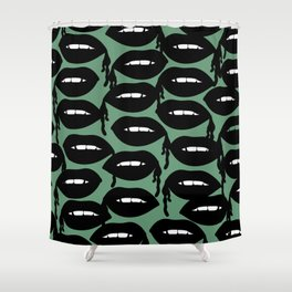 Bloody Lips in Green Shower Curtain