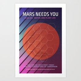 Mars Needs You Art Print