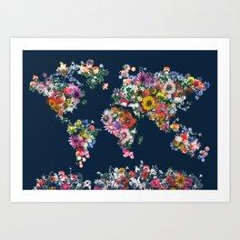world map floral Art Print