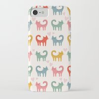 cartoons iPhone & iPod Cases featuring Cute color cats kitten cartoons by Maju Fernandez