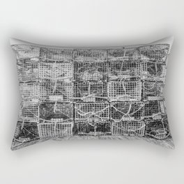Lobster Pots in Black and White New England Fishing Dock Kennebunkport Maine Atlantic Coast Rectangular Pillow