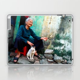 Vietnamese Woman with White Cat Laptop & iPad Skin