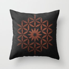 The Flower of Life - Ancient copper Throw Pillow