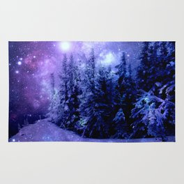 Galaxy Winter Forest Lavender Purple Blue Rug