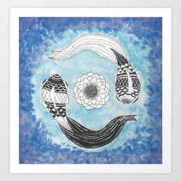 Ying and Yang Coi With Lotus Art Print
