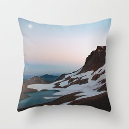 Alpine Lake Moonrise Throw Pillow