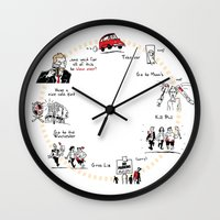 shaun of the dead Wall Clocks featuring Shaun of the Dead by Rob O'Connor