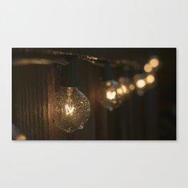 Light Bulbs in Rain Canvas Print