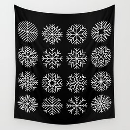 minimalist snow flakes on black Wall Tapestry