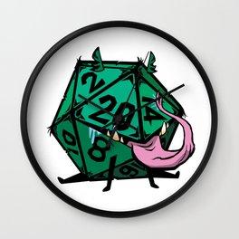 D20 dice mimic pup in green Wall Clock