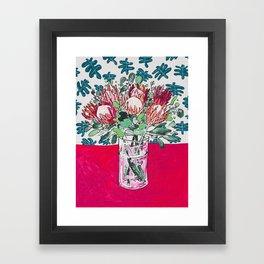 Bouquet of Proteas with Matisse Cutout Wallpaper Framed Art Print