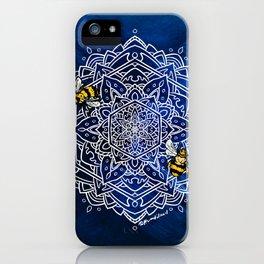 Bee Dance Mandala A - Textured Indigo iPhone Case