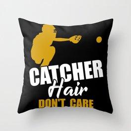 Softball Catcher Hair Don't Care Throw Pillow