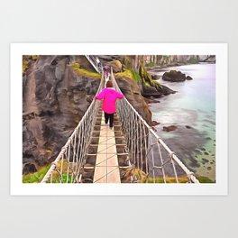 Carrick-a-rede rope bridge, Ireland. (Painting) Art Print