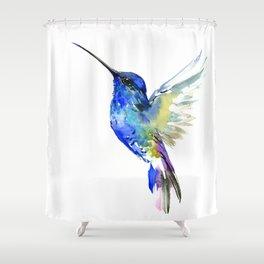 Hummingbird, Turquoise BLue Flying Bird decor Shower Curtain