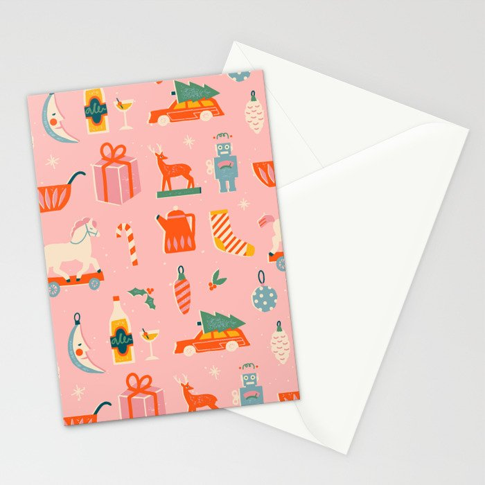 Vintage Christmas in pink Stationery Cards