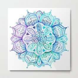 Iridescent Aqua and Purple Watercolor Mandala Metal Print