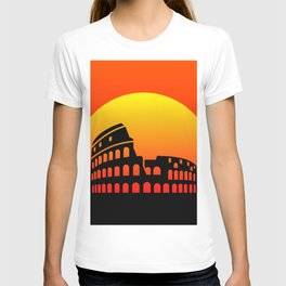 Sunset and colosseum in a red sky T-shirt