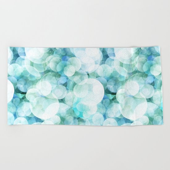 Aqua blue circles dots polkadots bokeh pattern on #Society6 Beach Towel