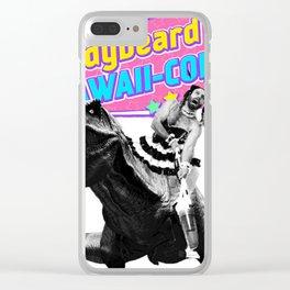 Ladybeard riding a T-Rex Clear iPhone Case