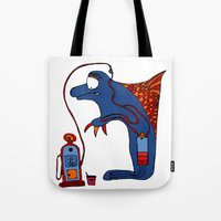 dolphin Tote Bags featuring Dolphin by JBLITTLEMONSTERS