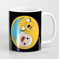finn and jake Mugs featuring Finn & Jake Yin Yang by bitobots